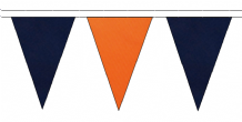 NAVY BLUE AND ORANGE TRIANGULAR BUNTING - 10m / 20m / 50m LENGTHS